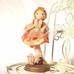 モール人形 オレンジ布スカート 小